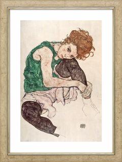 """Bild """"Sitzende Frau mit hochgezogenem Knie"""" (1917), gerahmt"""