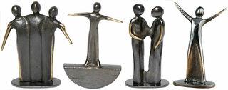 "4 Miniatur-Skulpturen ""Kunststückchen"" im Set, Bronze"
