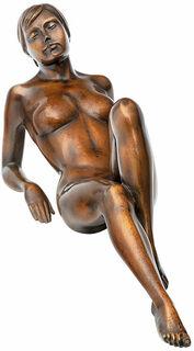 """Skulptur """"Die Liegende"""", Version Bronze braun"""