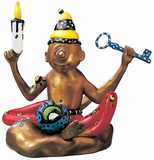 """Skulptur """"The Flying Buddha Doll"""" (2000), Verson in Kunstguss handbemalt"""