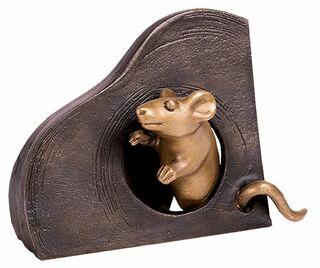 """Gartenskulptur """"Maus, schauend"""", Bronze"""