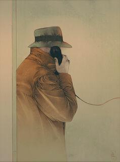 """Bild """"Ein entscheidender Anruf"""" (1985), ungerahmt"""