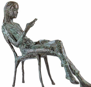"""Skulptur """"In Gedanken an Dich"""", Version Bronze grün/grau"""