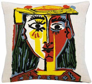"""Kissenhülle """"Frau mit Pompom-Hut und einer bedruckten Bluse"""" (1962)"""