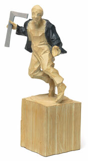 """Skulptur """"Architekt"""", Kunstguss Holzfinish"""